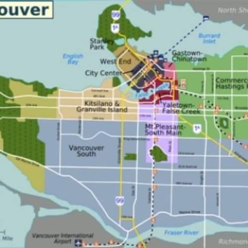 Mapa de distritos del centro de Vancouver
