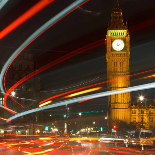 Panorámica nocturna del Parlamento de Londres