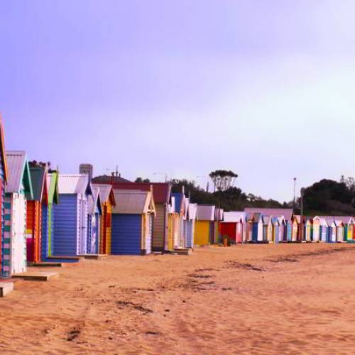Casitas de colores en la playa de Brighton