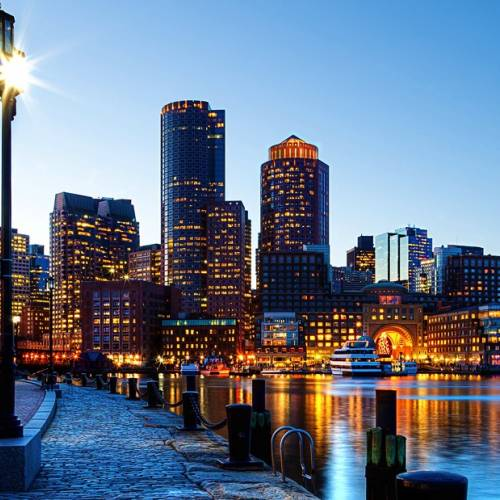 Panorámica nocturna de Boston