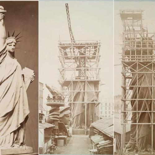 Escultura del proyecto y construcción de la estatua en París